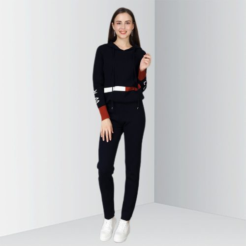 OCEAN Women's 2 Pieces Set Hoodie Striped Color Block Fashion Pants The various accessories in the picture are for shooting and are not included in V