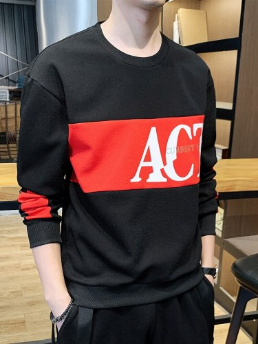 Men's Sweatshirt Patchwork Sweatshirts Print Long Sleeve Crew Neck