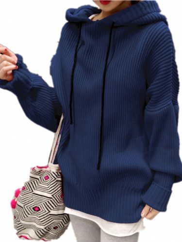 Women's Sweater Solid Color Casual Hooded Long Sleeve Loose