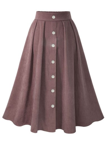 Women's A Line Skirt Elastic Waist Single Breasted Mid Waist Solid Color Midi Sweet Button