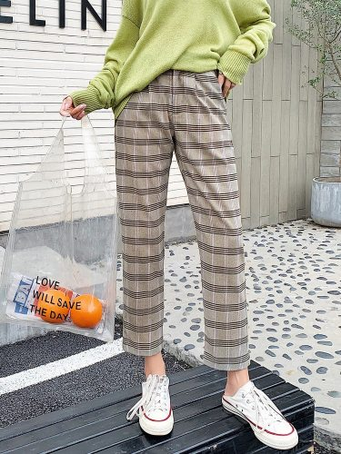 Women's Straight Pants Plaid Color Block Casual Straight Leg Ninth Houndstooth Zipper High Waist