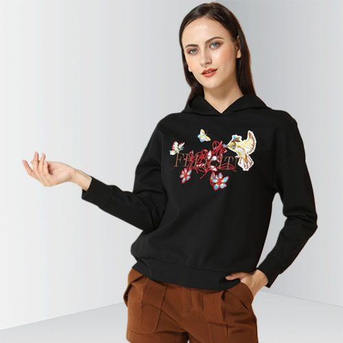 E·BECKY Women's Hoodie Floral Embroidery Loose The various accessories in the picture are for shooting and are not included in the products sold OL