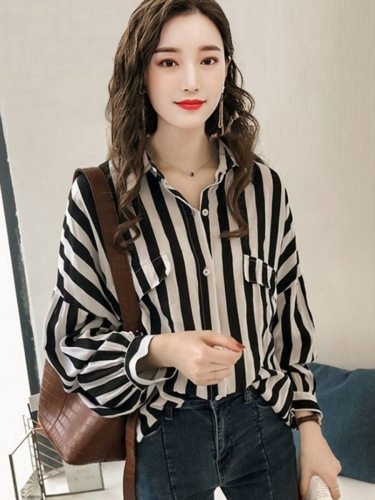Women's Shirt Casual Long Sleeve Turn Down Collar Striped Button Loose