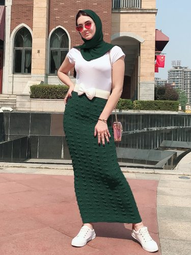 Women's Bodycon Skirt Solid Color High Waist Modest Slim Maxi
