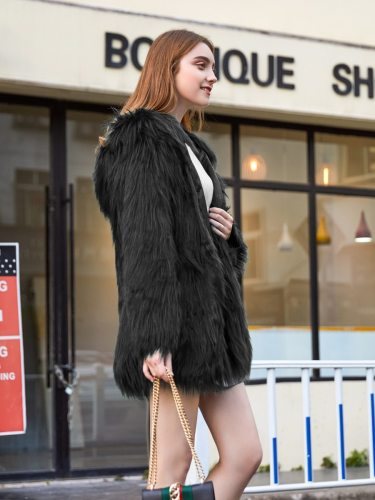 Women's Synthetic Fur Coat Hooded Long Sleeve Top Fashion Solid Color Single Breasted