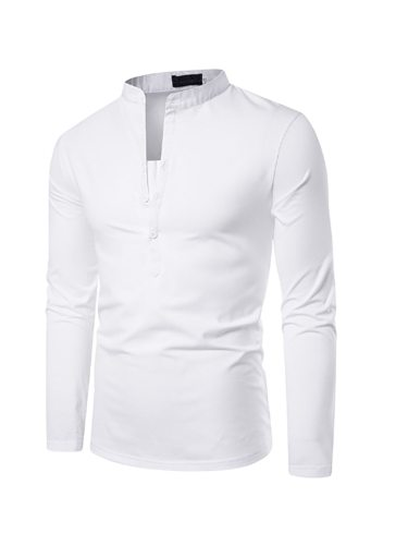 Men's Polo Shirt Deep V Neck Solid Color Fashion Long Sleeve Going Out Stand Collar Casual