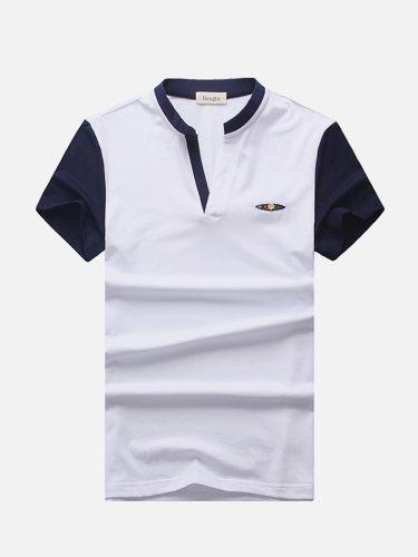 Men's Polo Shirt V Neck Slim Patchwork Short Sleeve Fashion