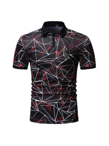 Men's Polo Shirt Geometry Print Fashion Geometric Short Sleeve Casual Turn Down Collar