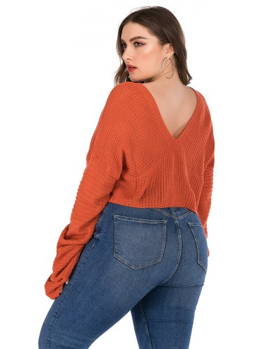 Women's Sweater Flare Sleeve Solid Color Backless Short V Neck Casual Long Sleeve