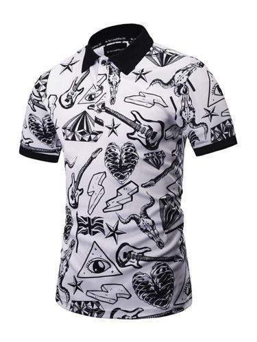 Men's Polo Shirt Guitar Print Short Sleeve