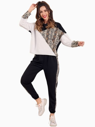 Women's 2 Pieces Pants Set Fashion Loose Sweatshirt Peg Slim Long Sleeve Patchwork Sporty Mid Waist Crew Neck