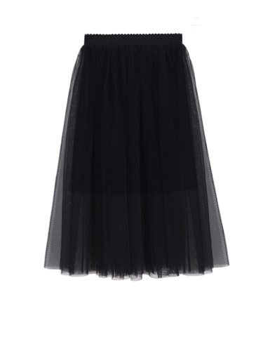 Women's Skirt Gauze Patch A Line Aline Solid Midi