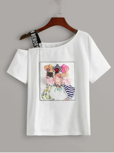 Women's T Shirt O Print Hollow Out Off Shoulder Short Sleeve Sweet Figure