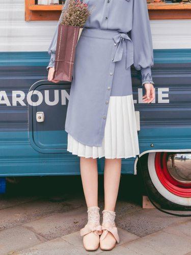 Women's Pleated Skirt Bow High Waist Casual Midi Button Patchwork