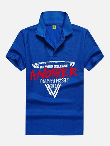 Men's Polo Shirt Print Colorblock Turn Down Collar Short Sleeve Casual Regular