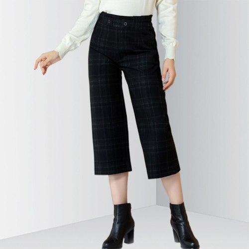 E·BECKY Women's Wide Leg Pants Fashion Plaid Cropped Solid Color Simple Mid Waist Straight Leg The various accessories in the picture are for and in