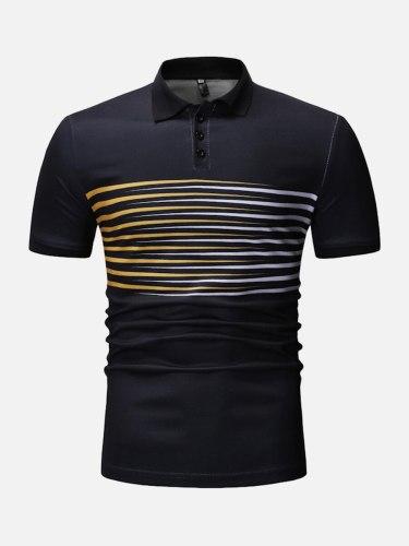 Men's Polo Shirt Polo Striped Short Sleeve Slim Casual Turn Down Collar