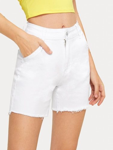 Women's Shorts Frayed Short Solid Color Mid Waist Casual
