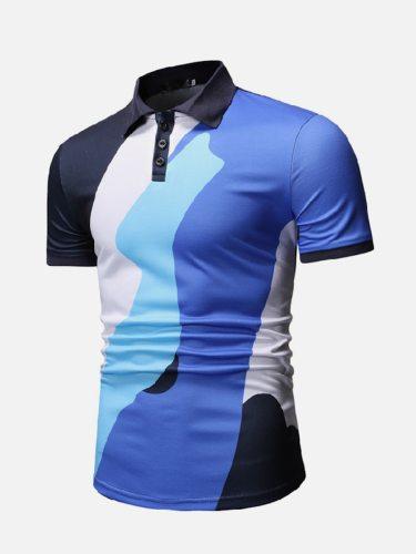 Men's Polo Skirt Casual Color Block Colorblock Short Sleeve Fashion Turn Down Collar Sports Slim