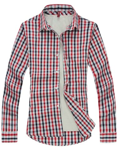 Men's Shirt Fashion Classic Plaid Plus Size Slim Long Sleeve Turn Down Collar Casual Note: The T-shirt inside is not included