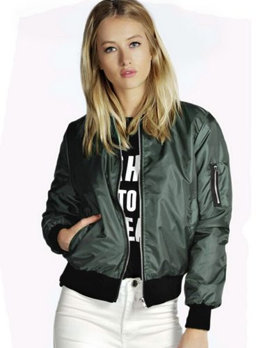 Women's Bomber Jacket Solid Color Casual Slim Zipper Stand Collar Long Sleeve Patchwork Sporty