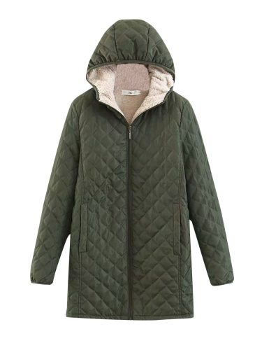 Women's Quilted Coat Solid Color Fleece Lining Pocket Hooded Long Sleeve Zipper