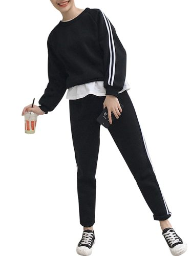 Women's 2Pcs Pants Set Top Striped Pants Long Sleeve High Waist Casual Patchwork Loose Crew Neck