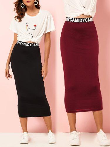 Women's Bodycon Skirt Letter Pattern Elastic Waist Midi Solid Color Casual High Waist Slim