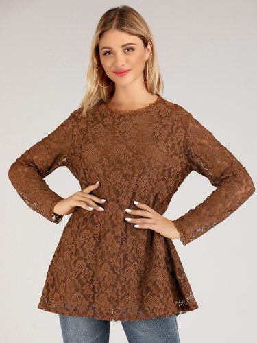 Women's Blouse Crew Neck Sweet Long Sleeve Lace Ruffled Casual Solid Color