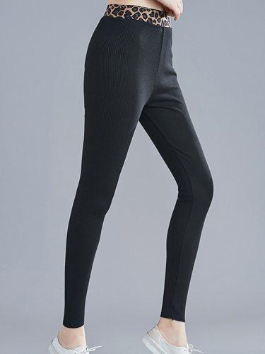 Women's Leggings Slim Top Fashion High Waist Ninth Solid Color
