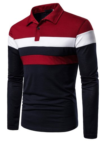 Men's Polo Shirt Casual Going Out Turn Down Collar Long Sleeve Colorblock