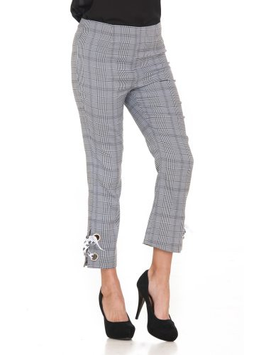 Women's Casual Pants Fashion Simple Plaid Loose High Waist Striped Ninth Elastic Waist Slim Modest Straight Leg