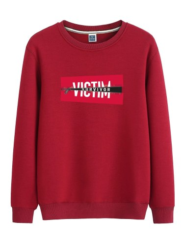 Men's Sweatshirt Letter Print Long Sleeve Sweatshirts Crew Neck