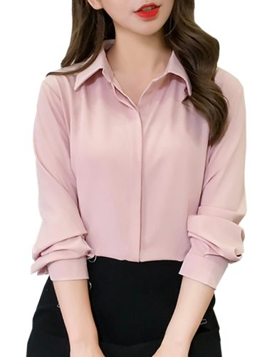 Women's Shirt Design All Match Solid Color Turn Down Collar Long Sleeve Loose Elegant Button