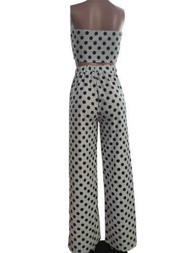Women's 2Psc Strapeless Top Wide Leg Strapless Sexy Slim Sleeveless Polka Dot Mid Waist