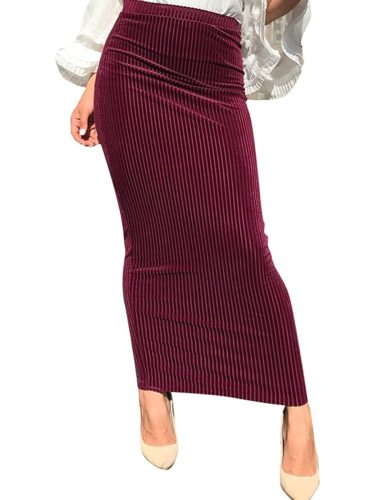 Women's Bodycon Skirt Striped Long Maxi High Waist Slim Solid Color Glamorous