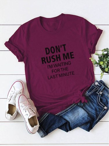 Women's T Shirt Fashion Word Print Words Short Sleeve Crew Neck The decorations in the picture such as shoes Casual