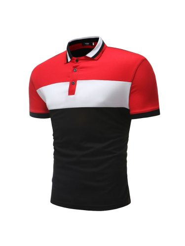Men's Polo Shirt Color Block Slim Elastic Going Out Casual Turn Down Collar Patchwork Short Sleeve