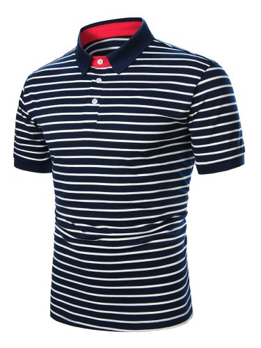 Men's Polo Shirt Striped Button Short Sleeve Casual Turn Down Collar Patchwork Loose