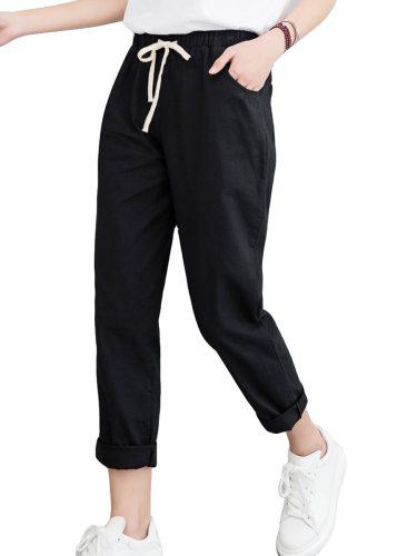 Women's Pants ed Bow Solid Color Mid Waist Casual Pocket Wide Leg Pants Letter Ninth Loose Zipper