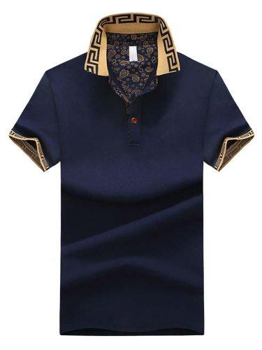 Men's Polo Shirt Cotton Blends Polo Colorblock Short Sleeve Casual Turn Down Collar
