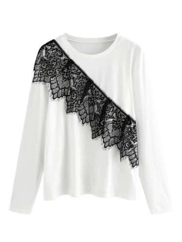 Women's T Shirt Lace Crew Neck Patchwork Casual Long Sleeve