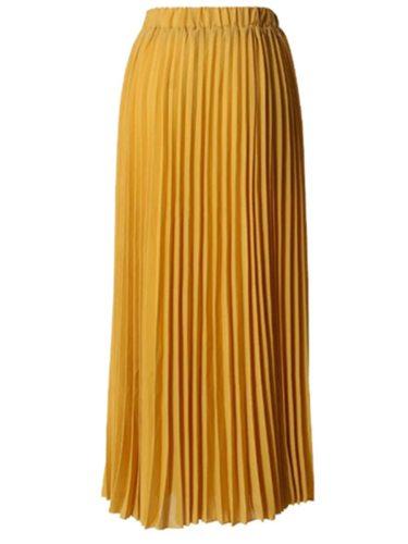 Women's Skirt High Waist Long Pleated Solid Maxi Ruffles