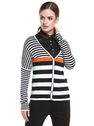 E•BECKY Women's Cardigan Casual Plain Style Striped The various accessories in the picture are for shooting and are not included in the products V