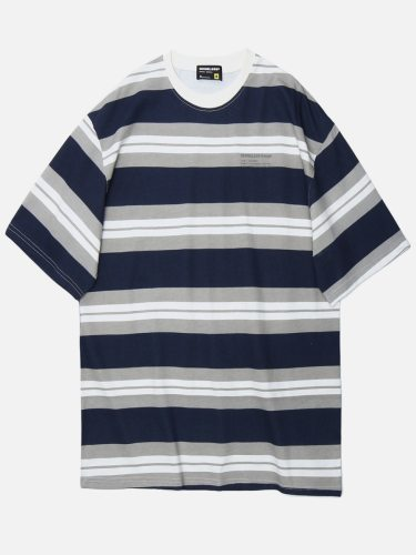 Men's T Shirt Striped Casual Loose Fashion Short Sleeve Print Crew Neck