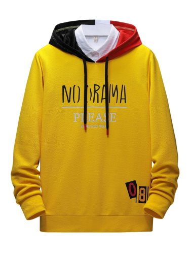 Men's Hoodie Words Loose Long Sleeve Casual Hooded Colorblock