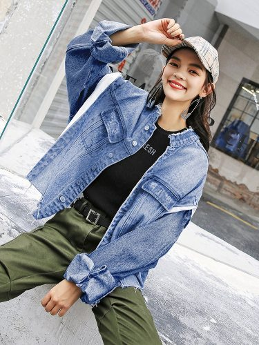 Women's Denim Coat Color block Frayed Hem Single Breasted Patchwork Stand Collar Top Fashion Long Sleeve