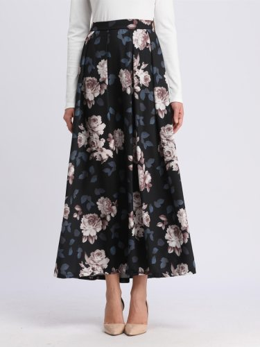 Women's A Line Skirt Fashion Loose Long Floral Maxi High Waist Aline