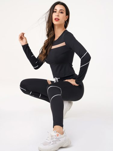 Women's 2Pcs Yoga Set Top Long Sleeve Sporty Patchwork High Waist Slim Crew Neck