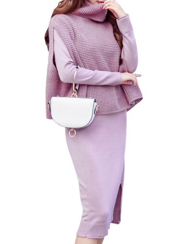 Women's 2Pcs Color Pullover Dress Split Long Sleeve Solid Elegant Turtle Neck